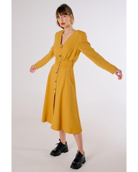 Сукня міді з ґудзиками і поясом
