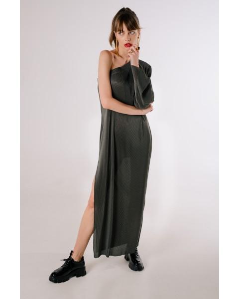 Сукня плісе на одне плече графітова