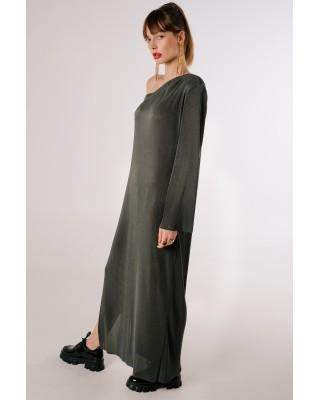 One shoulder pleated dress graphite