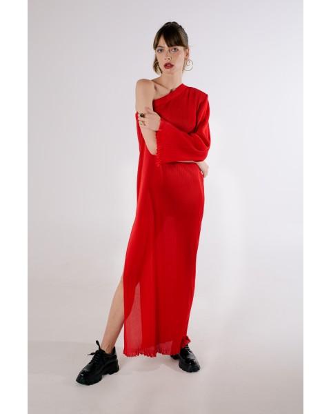 Сукня плісе на одне плече червона