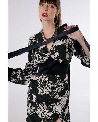 Dress with decorative silk elements