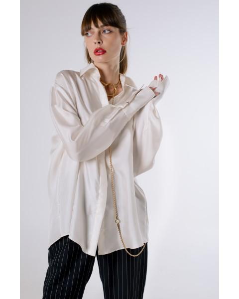 Шовкова сорочка біла