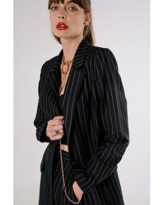 Black double-breasted jacket with stripes