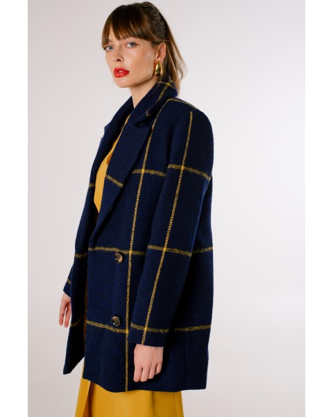 Пальто в клітинку синє міні