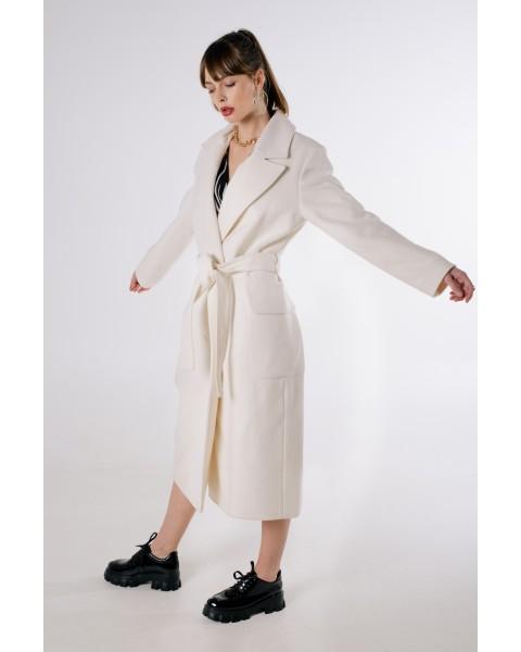 Пальто біле з кашеміру