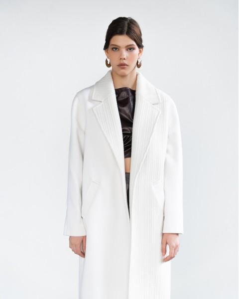 Пальто біле комбо
