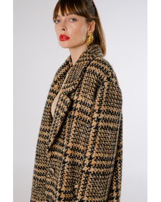Пальто міді бежево-коричневе