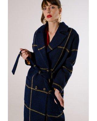 Пальто в клітинку синє міді