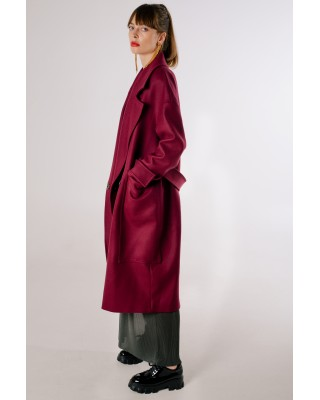 Пальто oversize бордове з накладними карманами