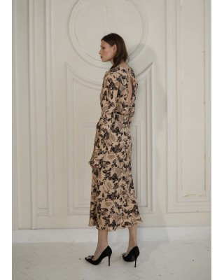 Printed beige silk dress with belt
