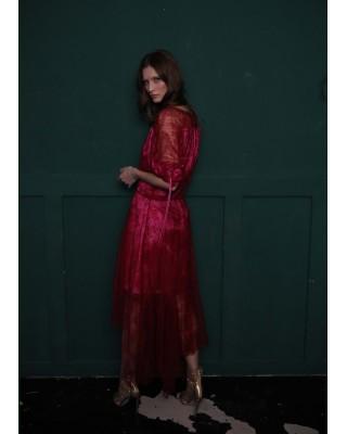 Сукня мереживна з асиметричним воланом