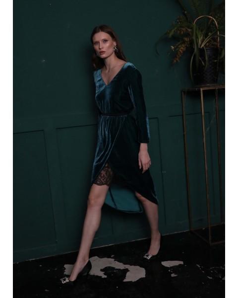 Сукня оксамитова з мереживом