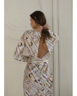 Printed white silk dress with belt