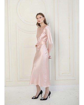 Silk powder dress with belt