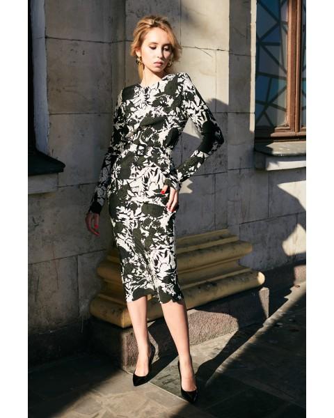 Сукня шовкова з поясом і принтом