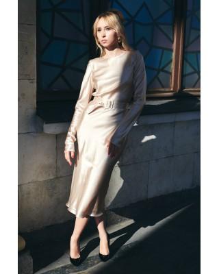 Сукня шовкова з поясом бежева