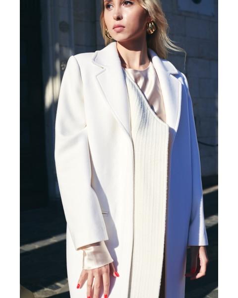 Пальто біле комбо двох фактур