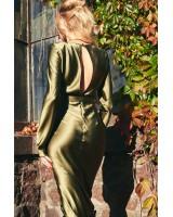 Сукня шовкова з поясом зелена