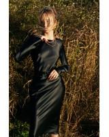 Сукня шовкова з поясом чорна