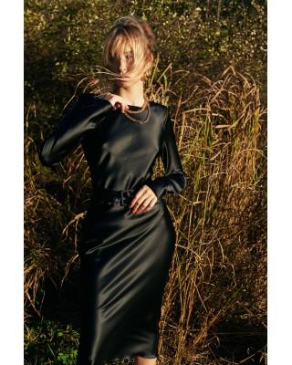 Silk black dress with belt