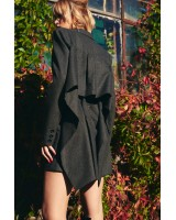 A jacket dress with ruffles on the back