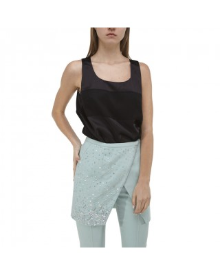 Блакитні брюки-дудочки з вишитим фартухом