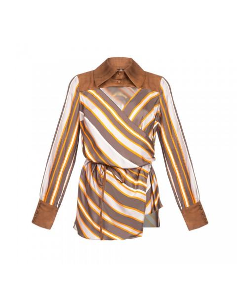 Блуза в полоску з контрасними деталями
