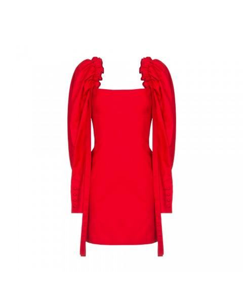 Шерстяна сукня-міні з об'ємними рукавами
