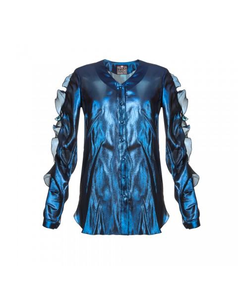 Рубашка із шовку з  воланом на рукавах
