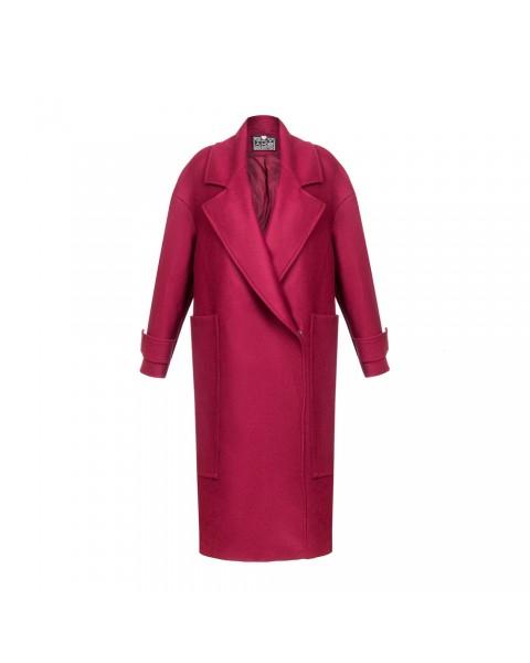 Пальто oversize бордовое с накладными карманами