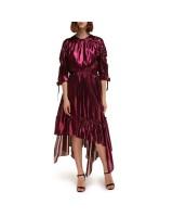 Сукня-міді із шовку з асиметричним воланом