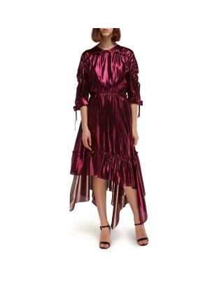 Silk midi dress with asymmetric flounce