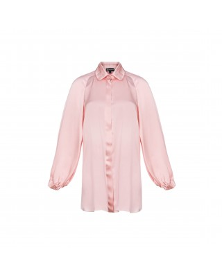 A silk bomber blouse with cuts