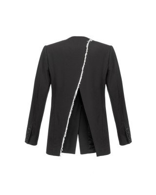 A black jacket with silver fringe embroidery