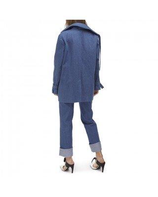 Джинсова куртка оверсайз з подвійними накладними кишенями і декоративними елементами