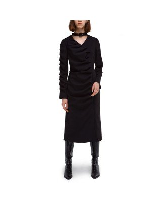 A wrap dress with pleats and a chocker