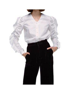 Бавовняна рубашка з воланом на рукавах