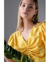 Блуза-топ із шовку жовта