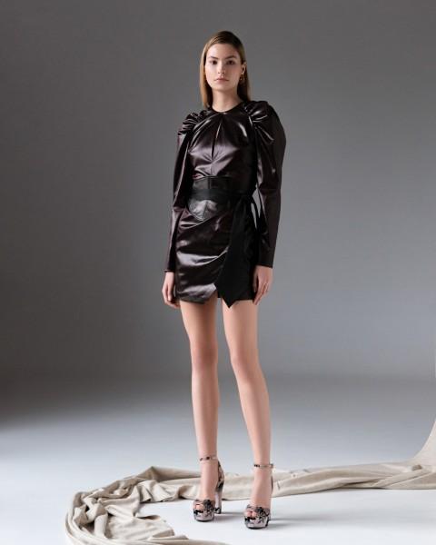 Сукня міні з еко-шкіри