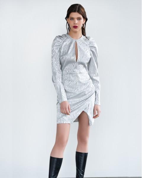 Сукня міні з розрізом зебра