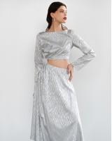Сукня з розрізом на талії зебра