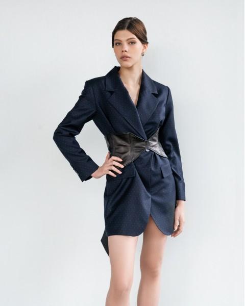 Жакет-сукня темно-синій