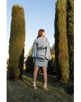 Сукня з шовку з об'ємними рукавами