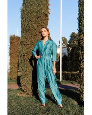 Overalls in turquoise color