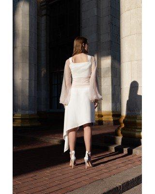 Асиметрична спідниця із шовку біла