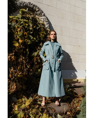Trenchcoat blue with belt
