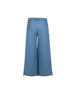 Wide denim culottes with decorative garters