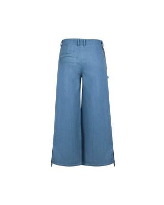 """Широкие джинсовые кюлоты с декоративными """"бельевыми"""" элементами"""