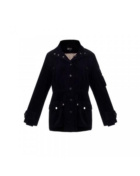 Вельветова утеплена куртка з кишенями-клапанами
