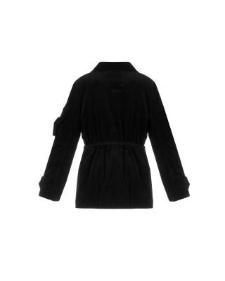 Вельветова утеплена куртка на кулисці з карманами-клапанами